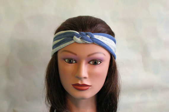 blue and white stripe Knotted Jersey Headband, T-Shirt Headband, Sailor's Knot Headband, Yoga Headband, stripe hairband