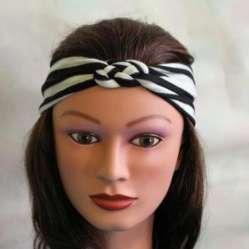 black and white stripe Knotted Jersey Headband, T-Shirt Headband, Sailor's Knot Headband, Yoga Headband, stripe hairband