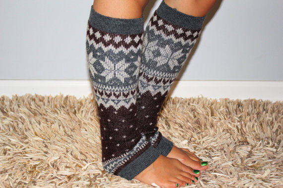 Womens Brown Knitted Leg Warmer Or Boot Topper With Pattern, Stocking St...